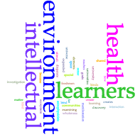 Word cloud based on Boyer quote representing importance of the words environment, health, learners, and intellectual in relation to the university as an ecosystem. Created using Voyant.